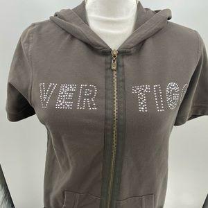 Vertigo Paris grey sweatshirt attached zipper hood